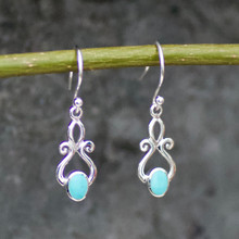 fancy handmade kingman turquoise and 925 silver drop earrings