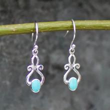 Fancy handmade Kingman turquoise and 925 sterling silver scroll drop earrings