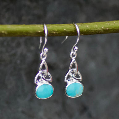 small oval celtic kingman turquoise and sterling silver drop earrings