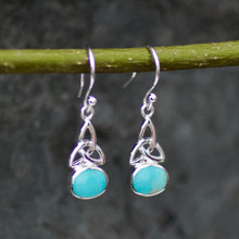 Medium oval Celtic Kingman turquoise and sterling silver drop earrings