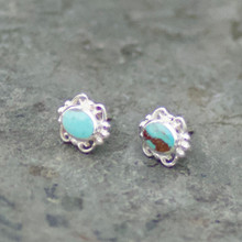 Kingman Turquoise Fancy Oval Stud Earrings 037TU