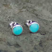 kingman turquoise and sterling silver round stud earrings