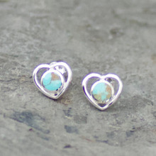 Kingman turquoise and sterling silver heart stud earrings