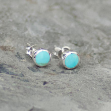 Kingman Turquoise Round Stud Earrings 027TU