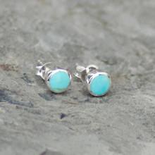 Kingman Turquoise Round Stud Earrings 027TU