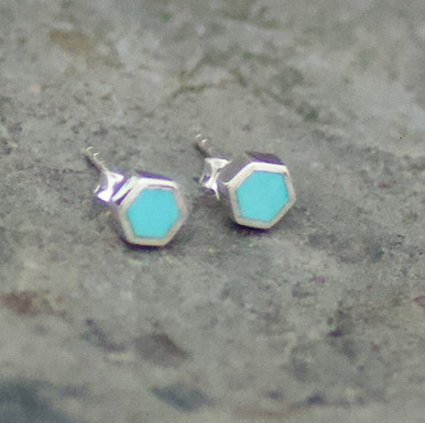 kingman turquoise and sterling silver hexagon stud earrings
