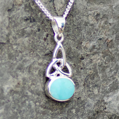 small oval stone celtic kingman turquoise and sterling silver pendant