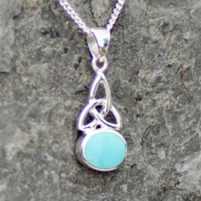 Kingman turquoise and sterling silver trinity knot pendant