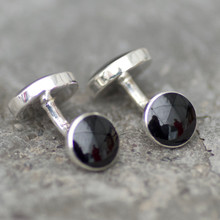 Handmade Whitby Jet and sterling silver gents double stone round cufflinks