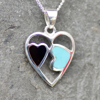 whitby jet and kingman turquoise and sterling silver two hearts pendant