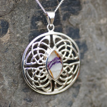 Large round sterling silver Celtic pendant with marquise Blue John stone