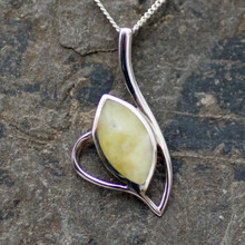 Hand crafted Connemara Marble and 925 silver marquise necklace