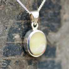 Hand crafted 925 silver and yellow connemara marble oval necklace