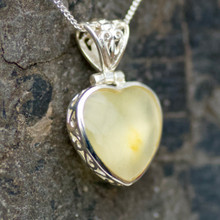 Butterscotch baltic amber and sterling silver filigree heart pendant