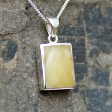 Butterscotch Baltic amber oblong pendant on silver chain