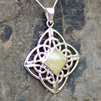 large celtic baltic amber and sterling silver pendant