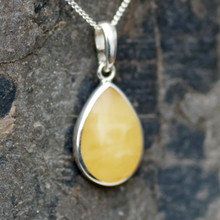 Butterscotch Baltic amber and sterling silver peardrop pendant