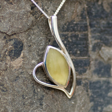 baltic amber and sterling silver marquise pendant