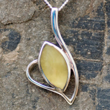 Amber and 925 silver marquise necklace