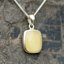 Yellow Baltic amber oblong pendant on sterling silver chain
