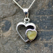 Handmade yellow butterscotch Baltic amber and sterling silver heart pendant