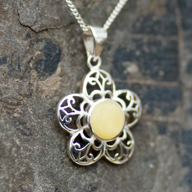yellow baltic amber and silver flower pendant