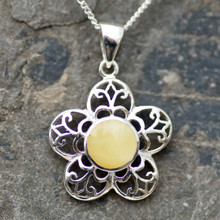 Handmade butterscotch amber and sterling silver flower necklace
