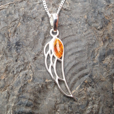 cognac amber and 925 sterling silver angel wing pendant