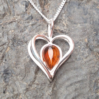 Cognac amber and sterling silver heart pendant