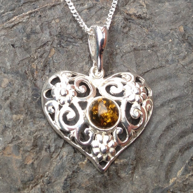 Cognac amber and sterling silver filigree heart pendant