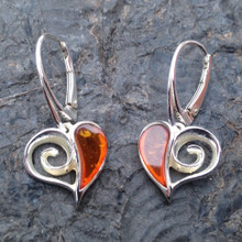 Cognac amber and sterling silver heart drop earrings
