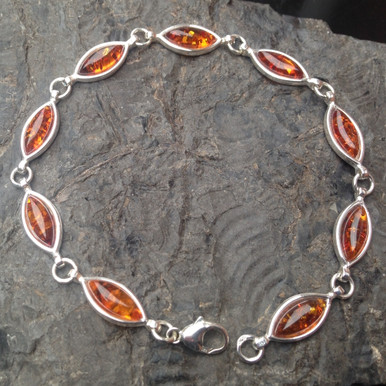 Cognac Amber and sterling silver marquise multistone bracelet