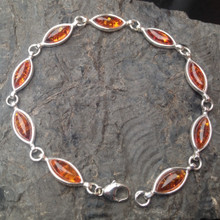 Baltic Cognac Amber and 925 sterling silver marquise multistone bracelet