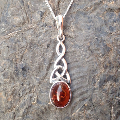 Cognac amber and sterling silver large Celtic pendant