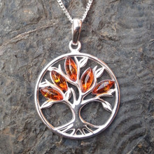 Cognac amber and sterling silver tree of life pendant