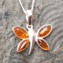 Cognac amber and 925 sterling silver multistone butterfly pendant