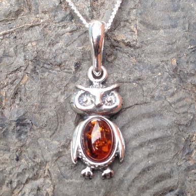 Cognac amber and sterling silver little owl pendant