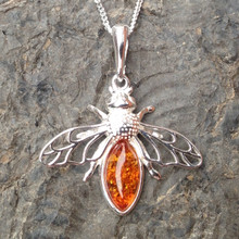 Cognac amber and 925 sterling silver bee pendant