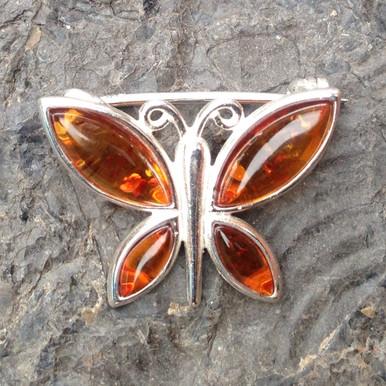 Cognac amber multistone butterfly brooch