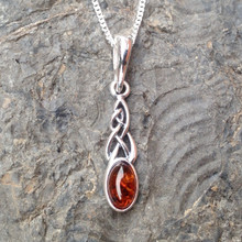 Cognac Amber and 925 sterling silver small Celtic Pendant
