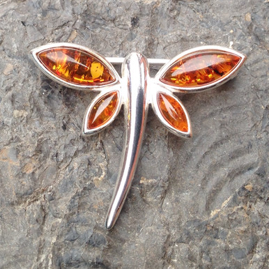 Cognac amber and 925 sterling silver dragonfly brooch