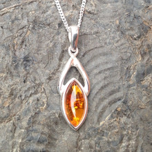 Cognac amber and 925 silver marquise pendant
