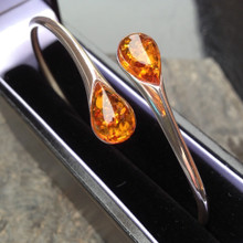 Cognac amber and 925 silver teardrop bangle