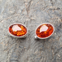 Cognac amber and 925 sterling silver oval cufflinks