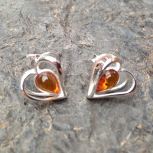 Cognac amber and 925 sterling silver heart stud earrings