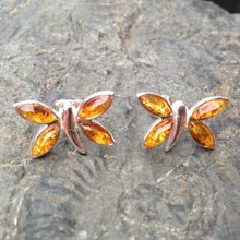 Cognac amber and 925 sterling silver butterfly stud earrings