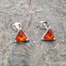 Cognac amber and sterling silver triangle stud earrings