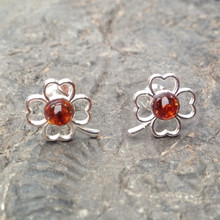 Cognac amber and 925 silver clover stud earrings