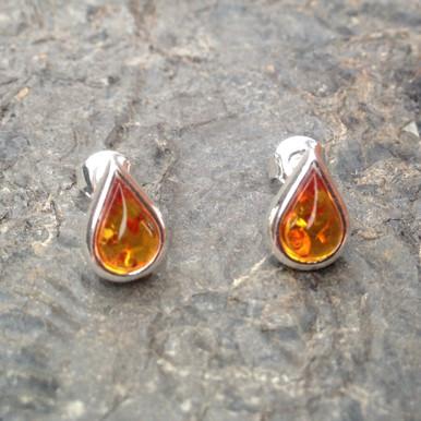 Baltic cognac amber and 925 silver teardrop stud earrings