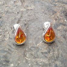 Baltic cognac amber and 925 silver teardrop stud earrings